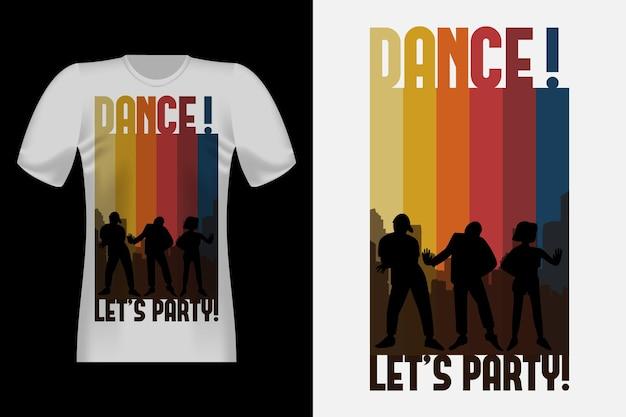 댄스 실루엣 빈티지 레트로 티셔츠 디자인