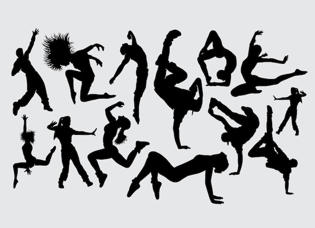 Dance stretching aerobic sport silhouette
