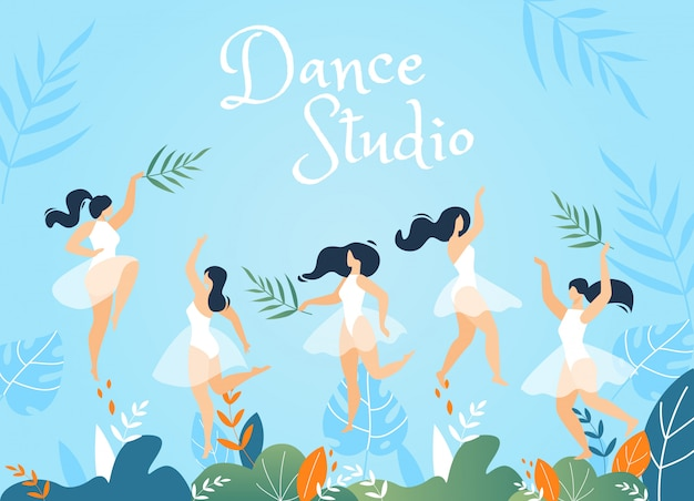Dance studio advertising banner with young women