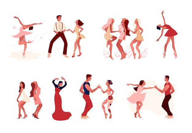 Танцевальная студия. набор счастливых активных позитивных мемов и женщин, танцующих. балерина в пачке, пуанты, пара танцует сальсу, танцор фламенко.