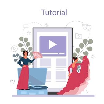 Dance teacher or choreographer in dance studio online service or platform