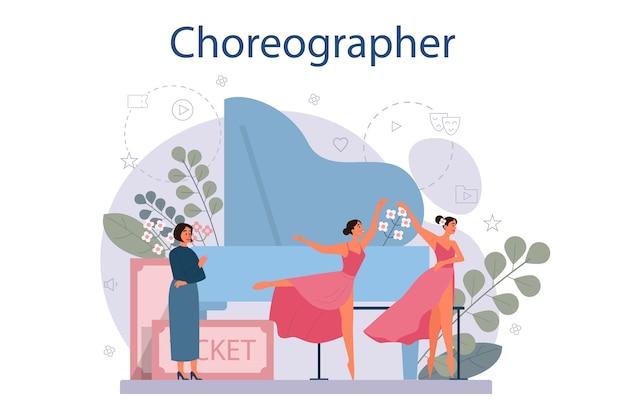 Dance teacher or choreographer in dance studio