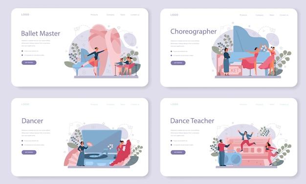 Учитель танцев или хореограф в наборе целевой веб-страницы танцевальной студии. курсы танцев для детей и взрослых. классический балет, латинский или современный уличный танец. векторные иллюстрации