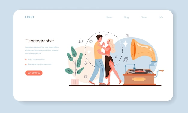 ダンス教師のウェブバナーまたはランディングページ