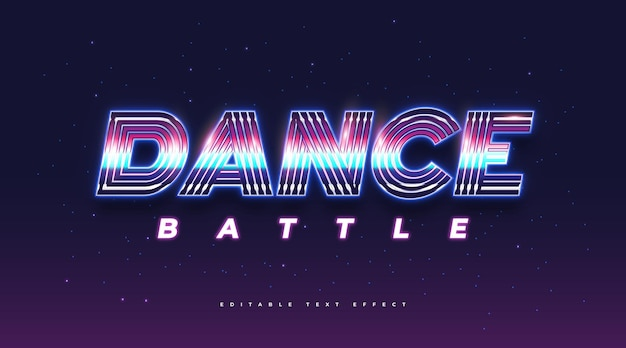 Dance text in colorful retro style and neon effect. editable text style effect