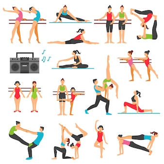 Dance training decorative icons set