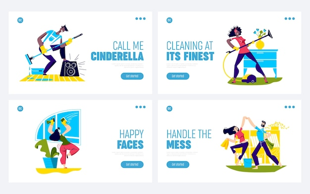 Dance while cleaning house. set of landing pages with funny cartoon characters