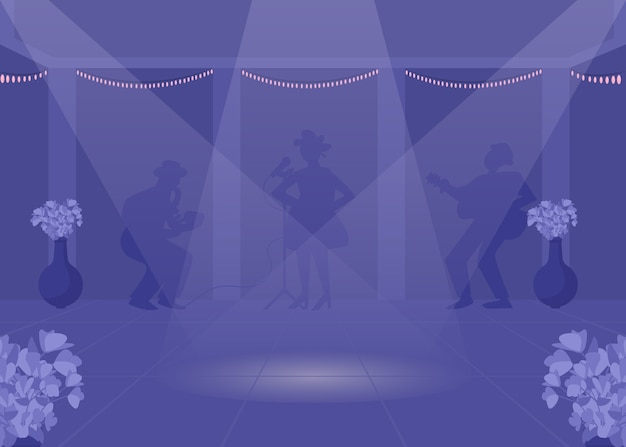 Танцевальная площадка плоская цветная иллюстрация