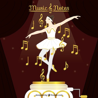 Dancer background with golden musical notes