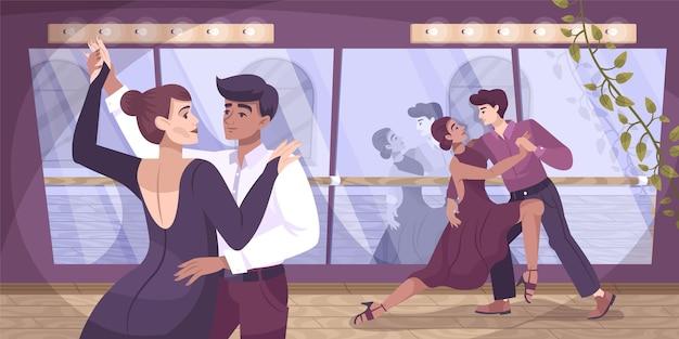 Composizione piatta nella sala da ballo del ballerino con coppia di coppie di ballerini nella sala di addestramento con illustrazione di luci e specchi