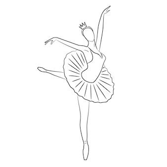 アラベスクスケッチのポーズでダンサー Premiumベクター