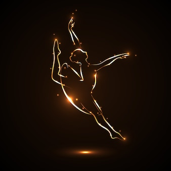 Танцовщица изящно танцует. силуэт балерины в прыжке в пробке. театральная постановка. абстрактное изображение балерины с золотым контуром со светлыми бликами на темном, черном фоне.