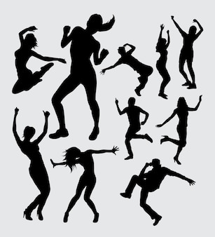 Dancer male and female action gesture silhouette