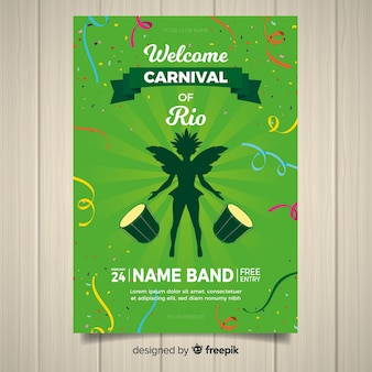 Dancer silhouette brazilian carnival party poster