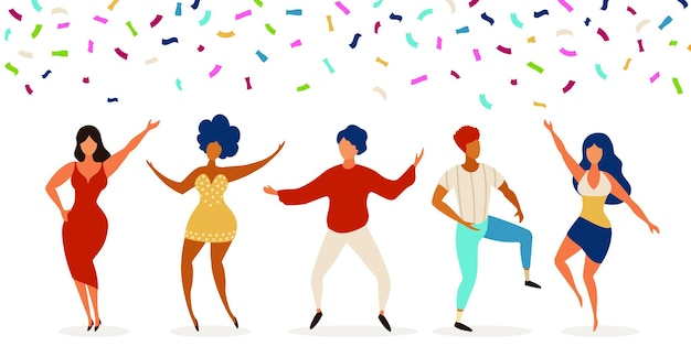 Dancers. group of young people dancing in club. celebration party with confetti. happy teens dance, jump together. funny vector characters. illustration young people group in club