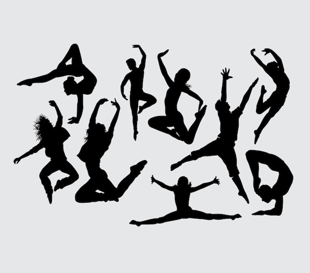 Dancers male and female gesture silhouette