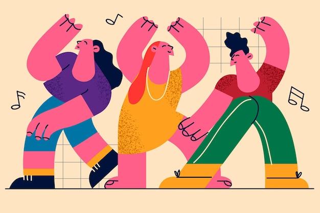 Танцоры двигаются и выражают положительные эмоции телом