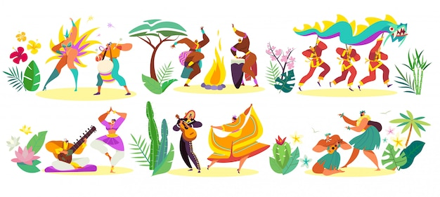 Dancers in traditional costumes of different cultures, illustration