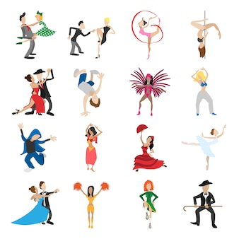 Dances cartoon icons set isolated