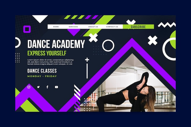 Dancing academy landing page template