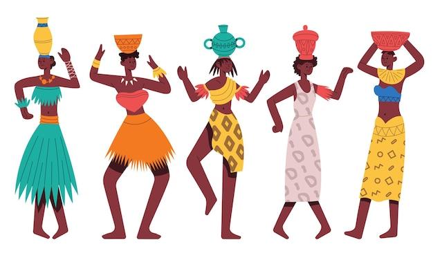 춤추는 아프리카 원주민 여성. 부족 댄스 격리 된 만화 벡터 일러스트 레이 션을 춤 여성 아프리카 캐릭터. 아프리카 흑인 부족 여성 댄서. 머리에 주전자를 들고 아프리카 민족 춤