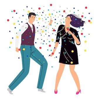 ダンスと飲酒のカップル。トレンディなビジネス衣装の漫画の幸せなカップルは紙吹雪、ライフスタイルを祝う概念、エレガントな人による休息のベクトルイラストで踊ります