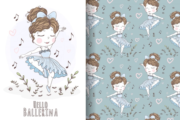 Dancing ballerina girls hand drawn blue seamless nursery