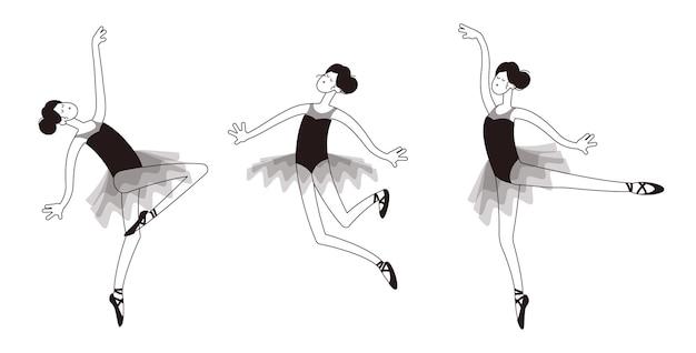 さまざまなポーズでバレエチュチュでバレリーナを踊る手描き落書き黒と白のアウトライン