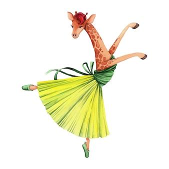 녹색과 노란색 드레스를 입고 발레리나 춤. 기린.