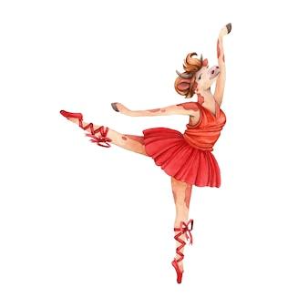 バレリーナを赤いドレスで踊る。牛。