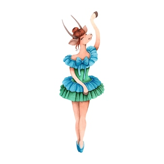녹색 드레스에서 발레리나 춤. 염소.