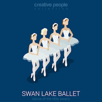 Dancing ballerinas swan lake ballet dance of little swans flat isometric  .