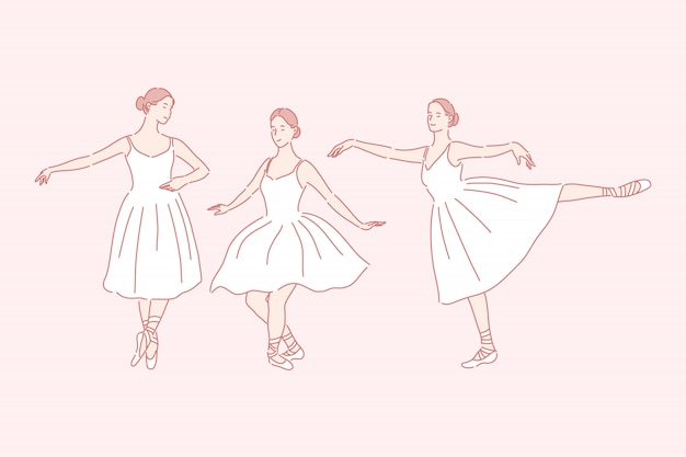 Dancing, ballet, teaching set concept