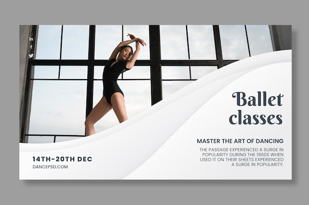 Dancing banner template with photo Free Vector