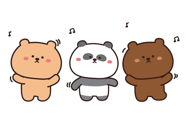 만화 곰 춤. 벡터 일러스트 레이 션 흰색 절연
