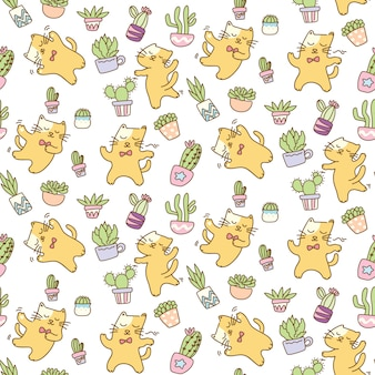 Dancing cats with cactus seamless pattern background