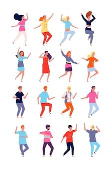 踊るキャラクター。アクションの若い人たちは、面白いパーティーキャラクターのフラットスタイルでポーズをとります。