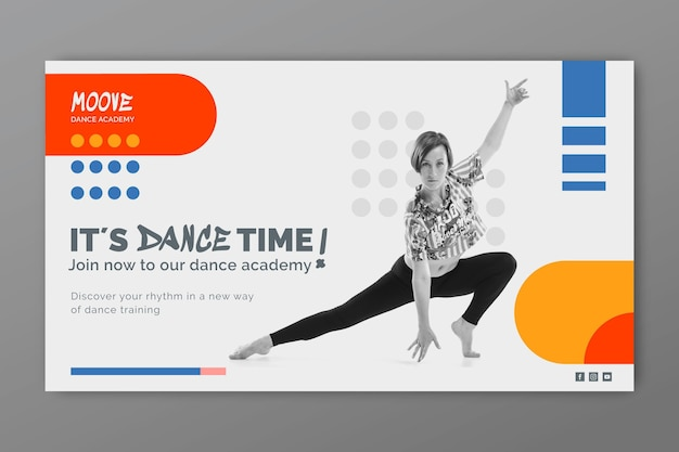 Танцевальные классы горизонтальный баннер шаблон