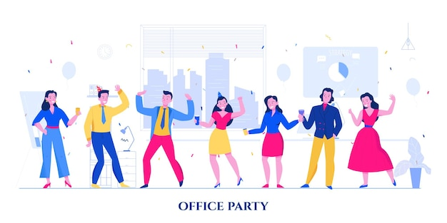 Dancing colleagues in bright suits and dresses at office party flat