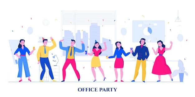 オフィスパーティーフラットで明るいスーツとドレスを着て同僚を踊る
