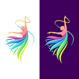 Dancing color logo design