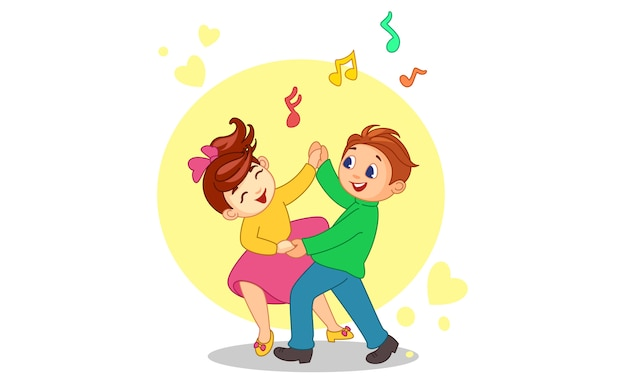 Dancing couple cartoon