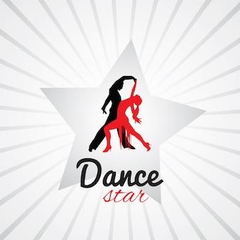 Танцующая пара логотип на звездном фоне