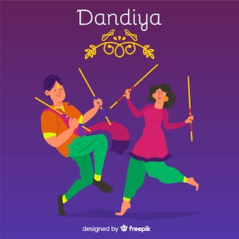 Dancing couple ornament dandiya background