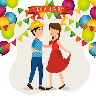 Dancing couple with balloons and banners over white background vector illustration