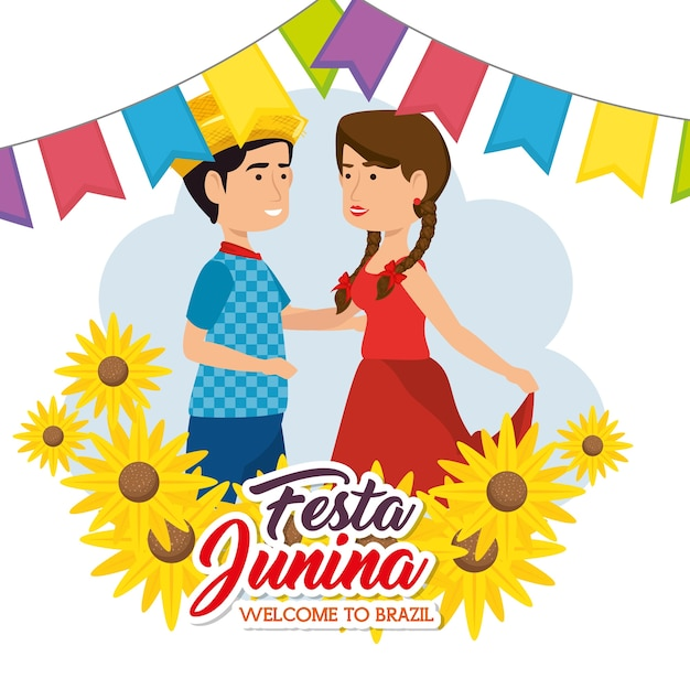 Dancing couple with sunflowers and banners over white background vector illustration