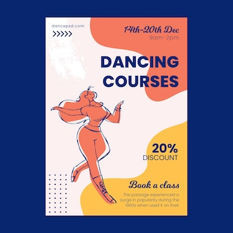Dancing courses school flyer template
