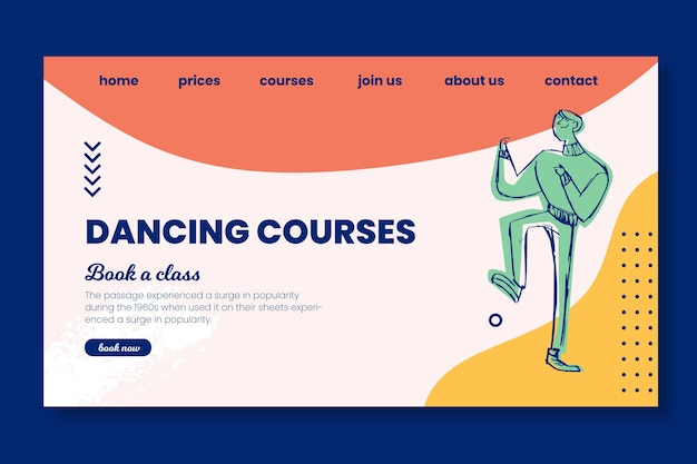Dancing courses school landing page template