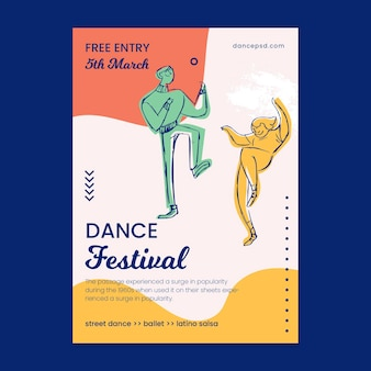 Dancing courses school poster print template