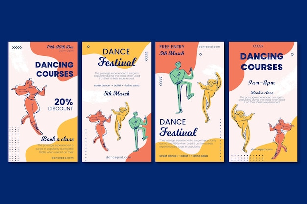 Dancing courses school social media stories template